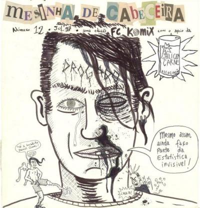 """original da capa do """"Mesinha de Cabeceira"""" #12, por Marcos Farrajota, reciclado para o livro """"Noitadas, Deprês & Bubas"""" (col. Mercantologia, Chili Com Carne; 20089"""