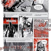 pág.1 da versão espanhola do 2ºcap. de Psycho Whip - des. JCoelho, arg. DJ GoldenShower