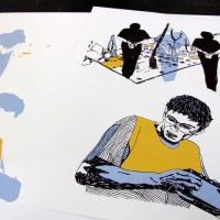 """Serigrafia de <strong><a href=""""http://www.chilicomcarne.com/index.php?option=com_rsgallery2&Itemid=42&catid=95"""">Joana Pires</a></strong> para a exposição das ilustrações do <strong>Bestiário Ilustríssimo</strong> (Chili Com Carne + Thisco; 2012) de Rui Eduardo Paes."""