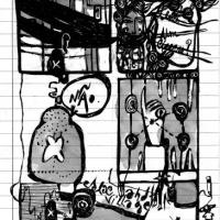 """Página 2 da bd publicada em """"Combate"""" (Ediciones Valientes; 2010) no âmbito da tour europeia da Chili Com Carne"""